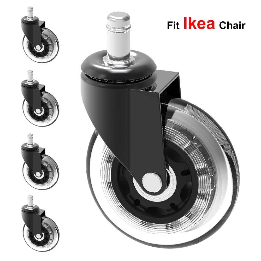 Buy Mysit 5x Replacement Casters For Ikea Office Chairs 3 Heavy Duty Large Rubber Caster Wheels For Hardwood Floors Better Than Office Chair Mat Silent Smooth Rolling With 10 Mm Stem Caster 3in Ikea