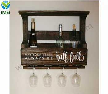 decoration stand wall rustic wooden display hanging rack for wine YM07322