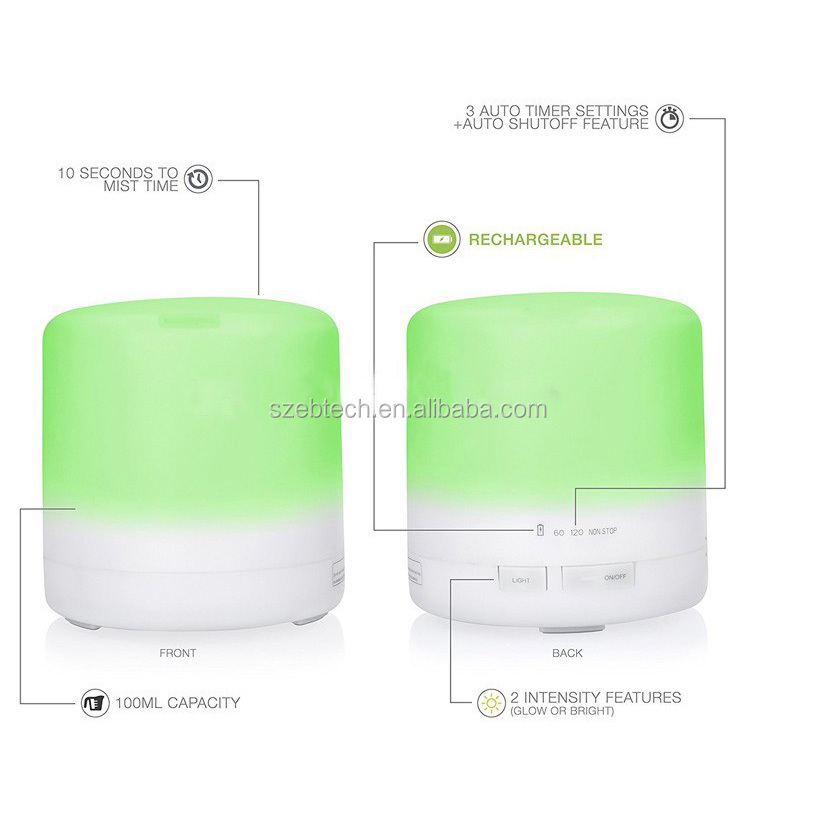 MINI Usb Wireless Battery Operated 100ml Rechargeable Humidifier/Aroma Oil Diffuser/ Fragrance Diffuser