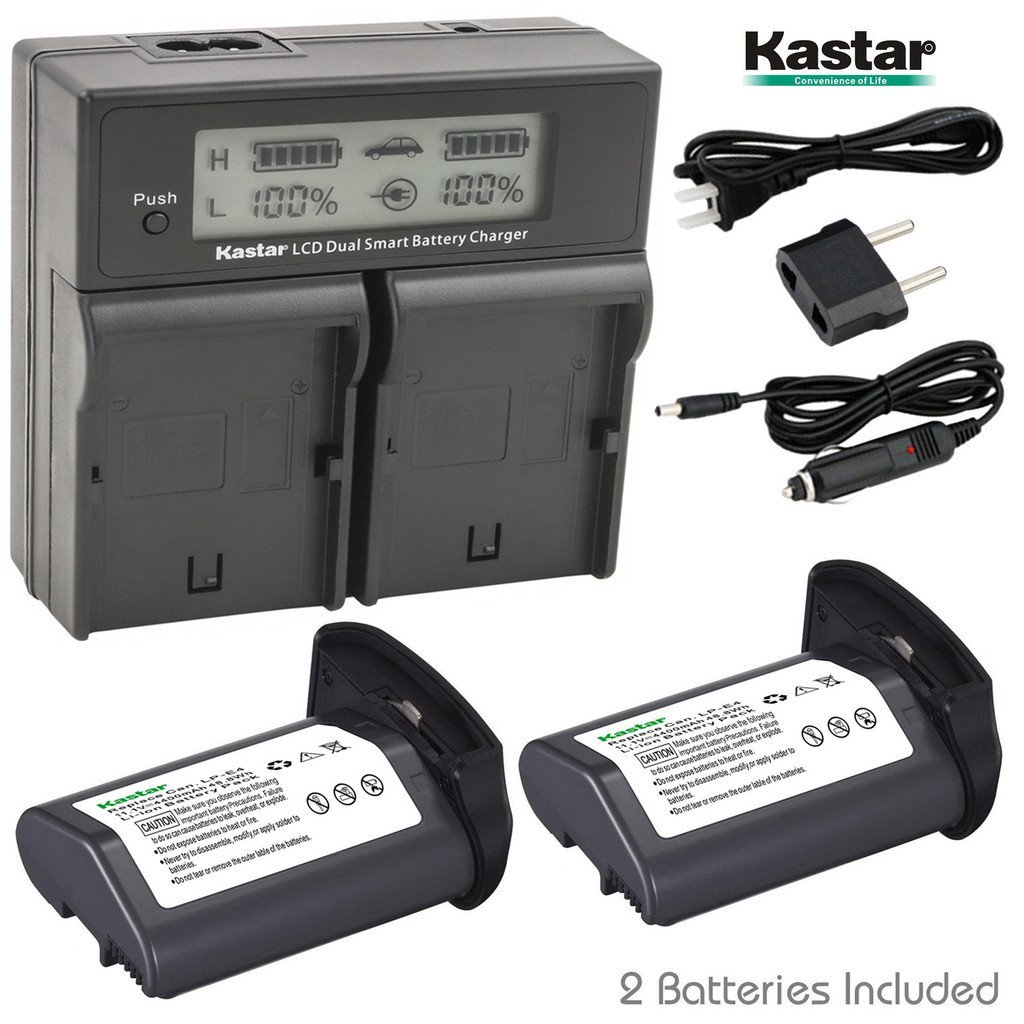 Kastar LCD Dual Smart Fast Charger & Battery (2 PACK) for Canon LP-E4, LPE4 (11.1V 4400mAh 48.4Wh) and Canon EOS-1D C, EOS-1D Mark III, EOS-1Ds Mark III, EOS-1D Mark IV Cameras