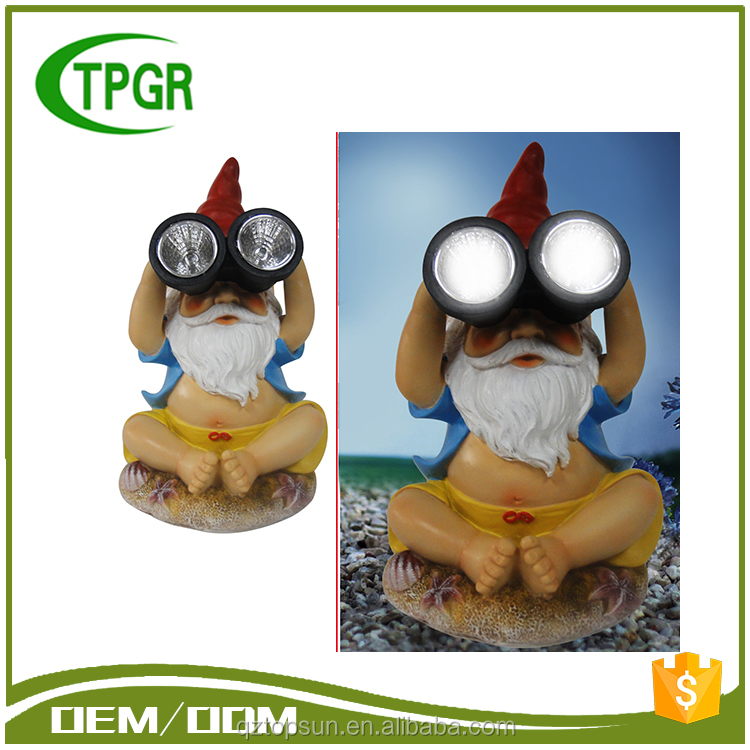 2017 Trending Products Polyresin Craft Funny Gnome Solar Led Garden Light