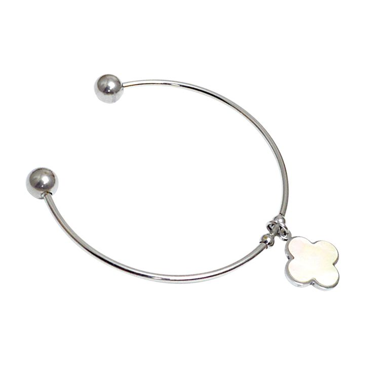 Simple style 925 sterling sliver cuff bracelet with clover charm