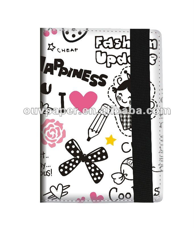 PU leather meeting notebook address book with elastic band
