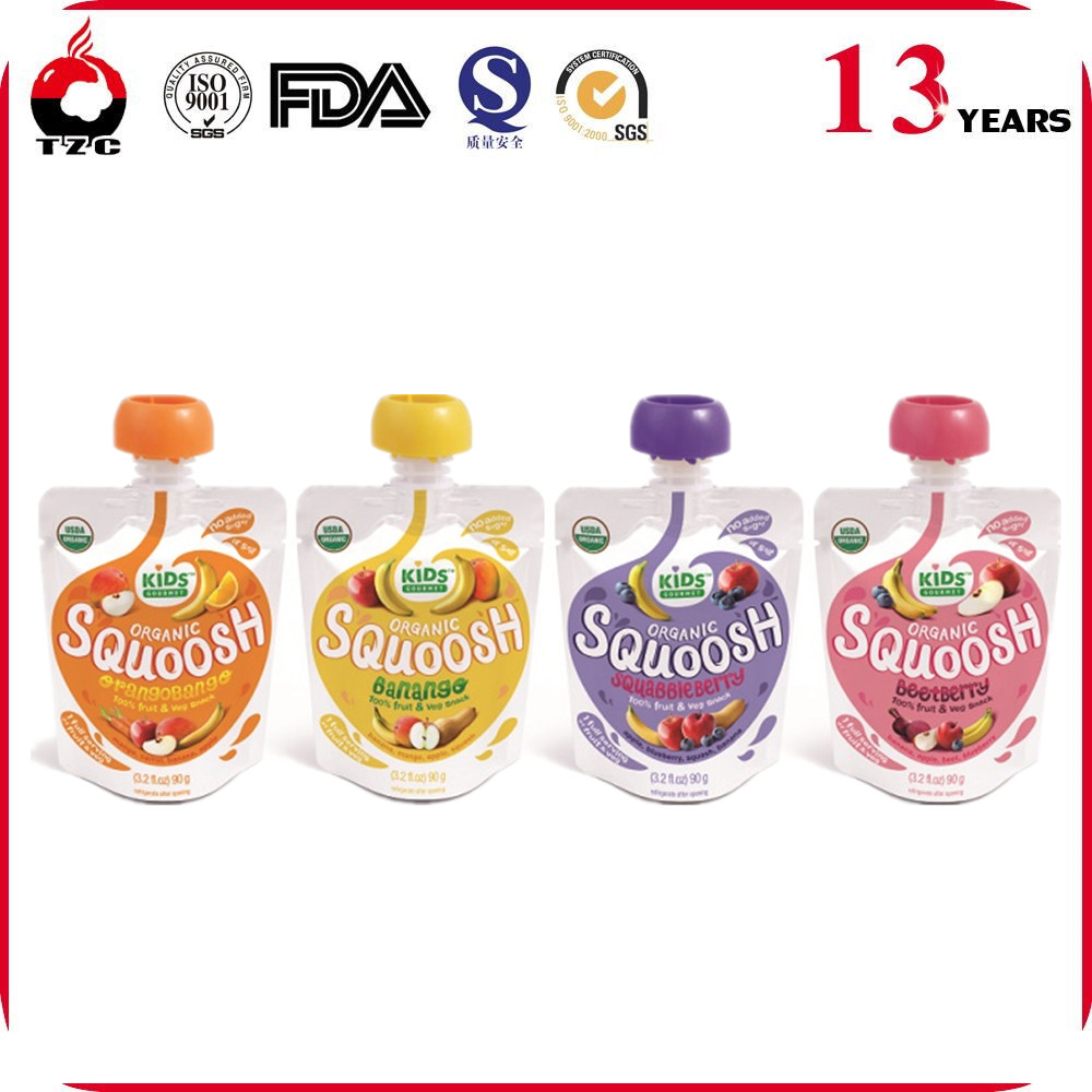 Reusable Food Spout Pouch for baby jam packaging/Reusable baby food spout pouch