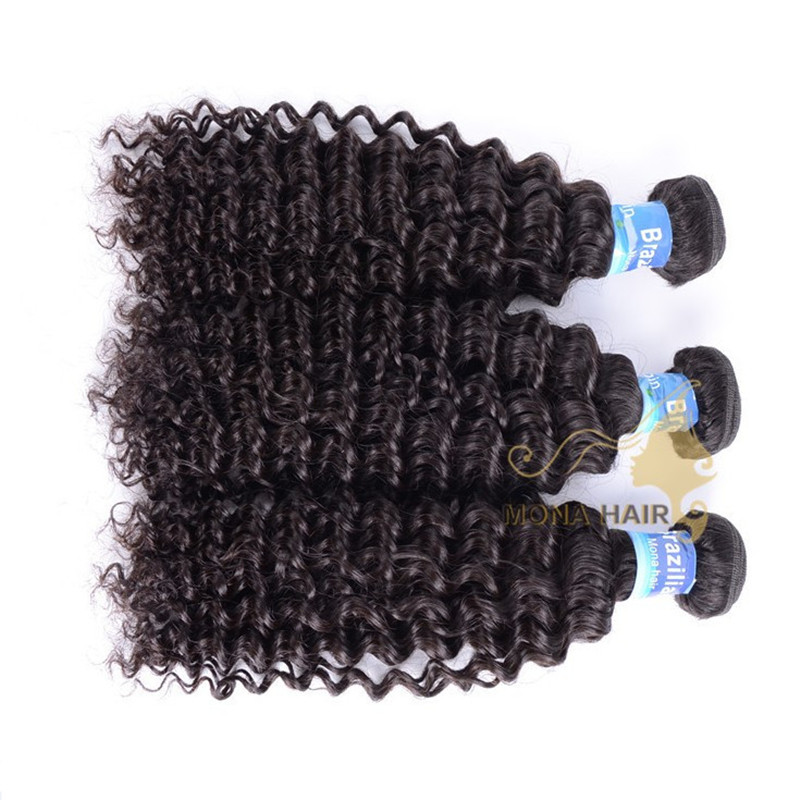 Wholesale brazilian hair weave curly human hair extension in dubai, Natural color