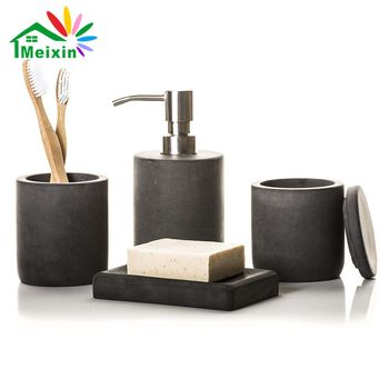 Concrete Bathroom 4 Set Lotion Dispenser Tumbler Toothbrush Holder Soap Dish