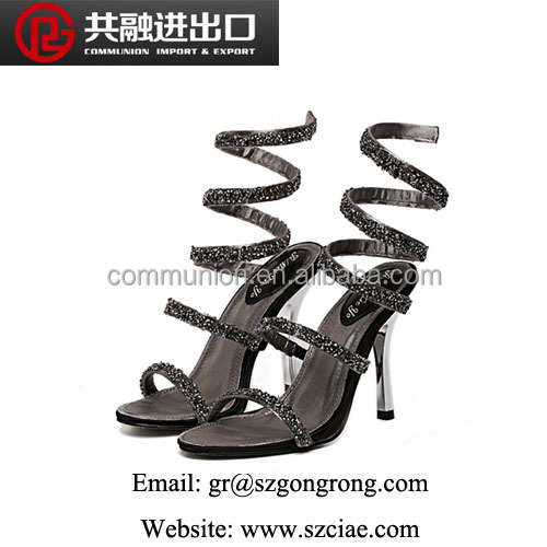 2016 fashion distinctive sandals 36-41 metal sequins sexy S curve shoes women's sexy high-heeled Roman sandals JIM-C-812