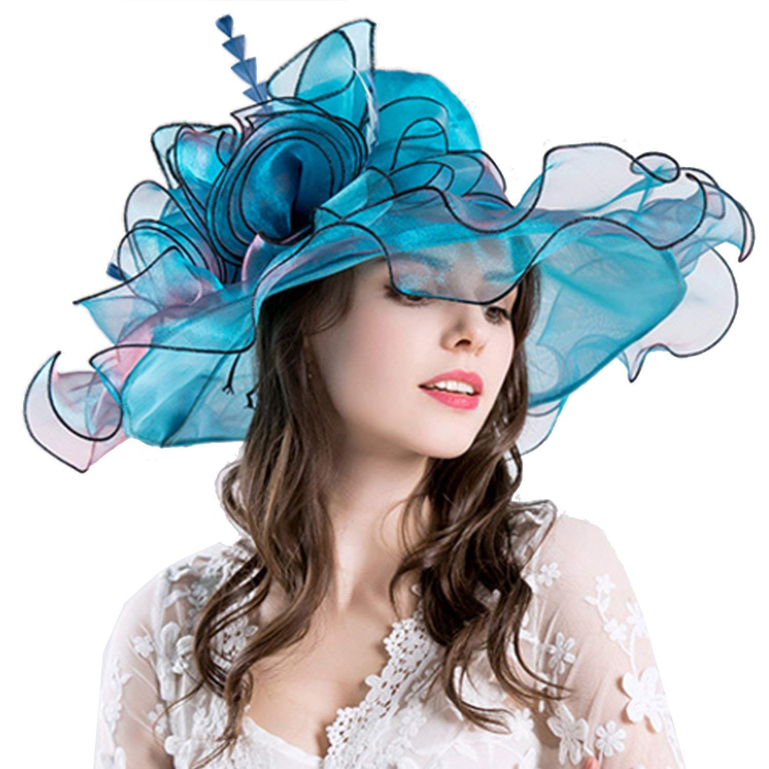 70c42531cd3e13 Get Quotations · Youndcc Women's Organza Church Fascinator Cap Wide Brim  Kentucky Wedding Hat