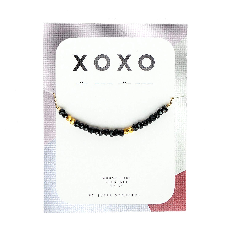 "Morse Code Necklace ""xoxo"" in Black Garnet"