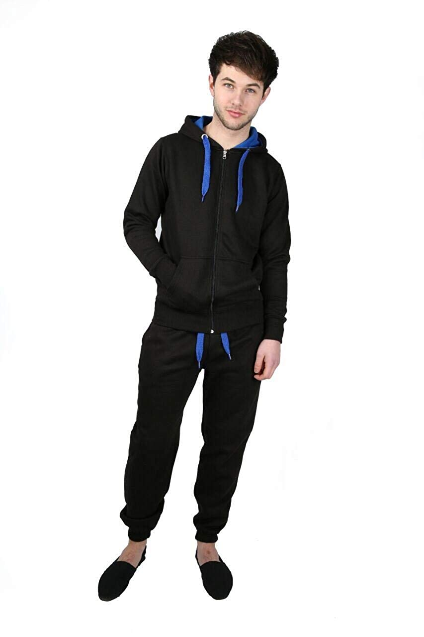3438fc01c59ea0 Get Quotations · Mens Contrast Cord Full Zip Fleece Tracksuit Hoodie Top  Bottoms Jogging Joggers Gym