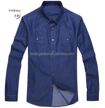 camisetas Denim bolsillos hombre lavada Camisas piedra jeans Denim 100 para dos algodón de color SORTq