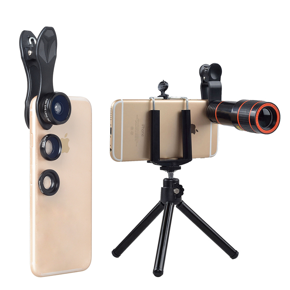 Accessori del telefono Mobile universale clip phone camera lens 12x telescopio teleobiettivo zoom camera lens kit per iPhone e Samsung