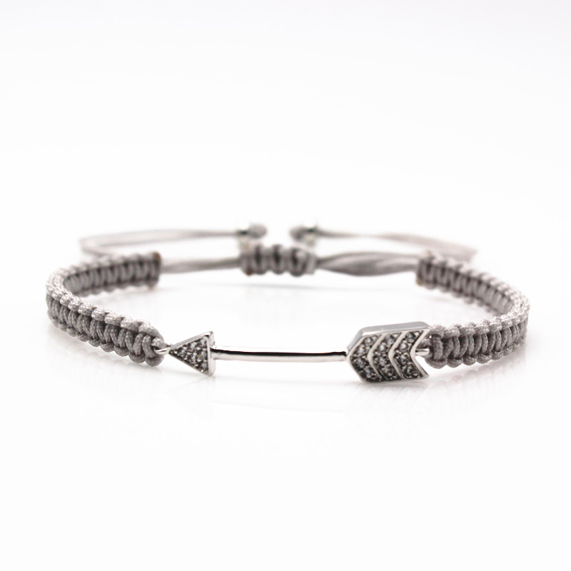 Mr Jewelry Arrow Micro Pave CZ Bracelets Braided Macrame Charm Bracelet For Women Men Men Bodybuilding Bracelets