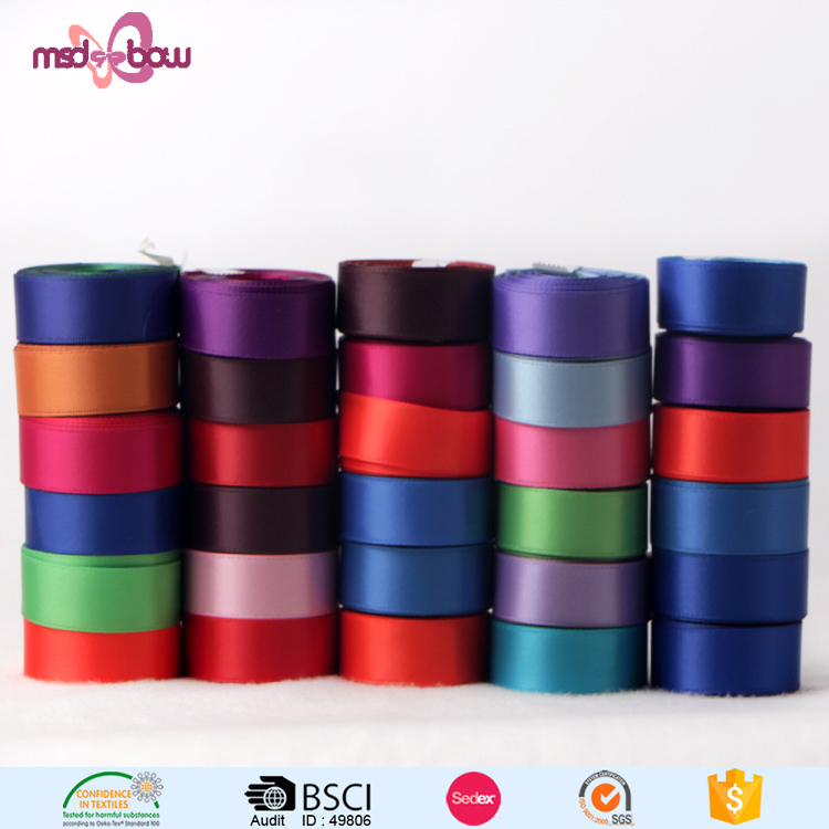 Custom printed 16mm double faced thermal transfer satin polyester ribbon