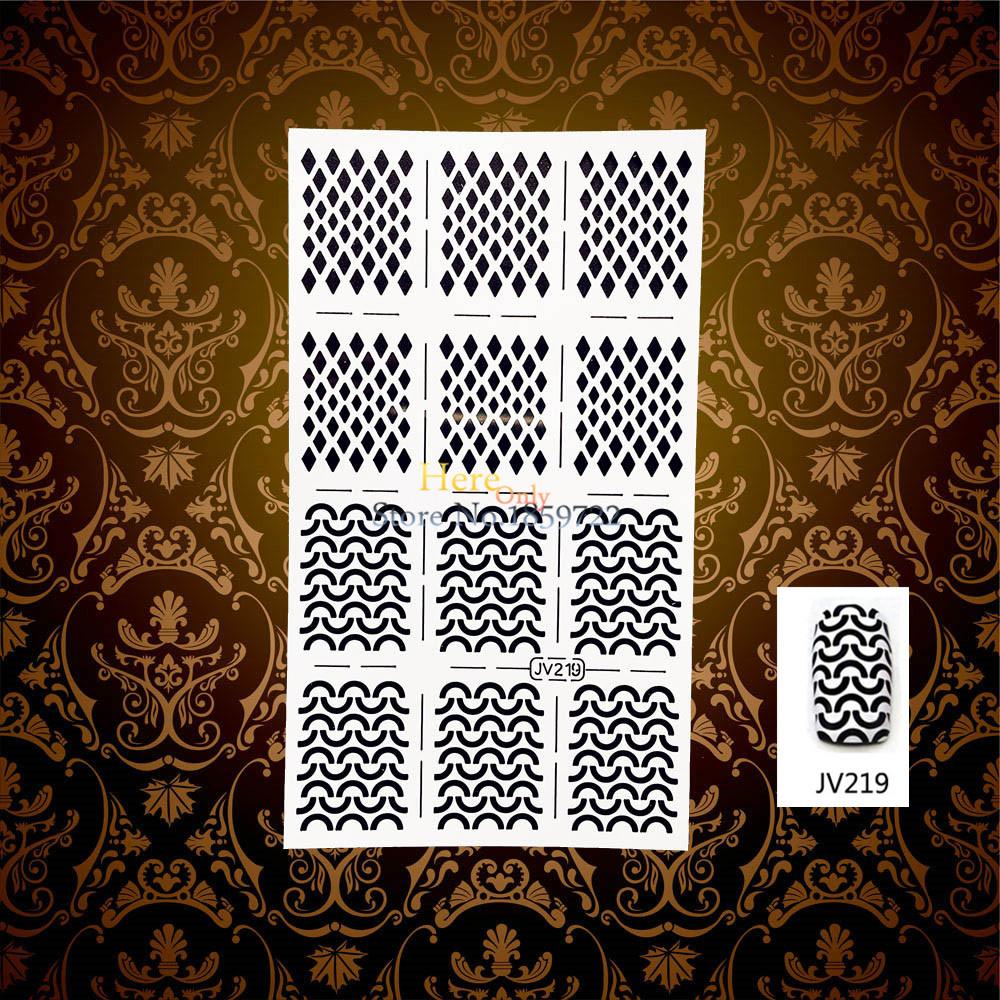 1PC White Holo Out Nail Foils Stencils Sticker Gem Diamond Pattern HWJV219 Manicures Art Tool Tips