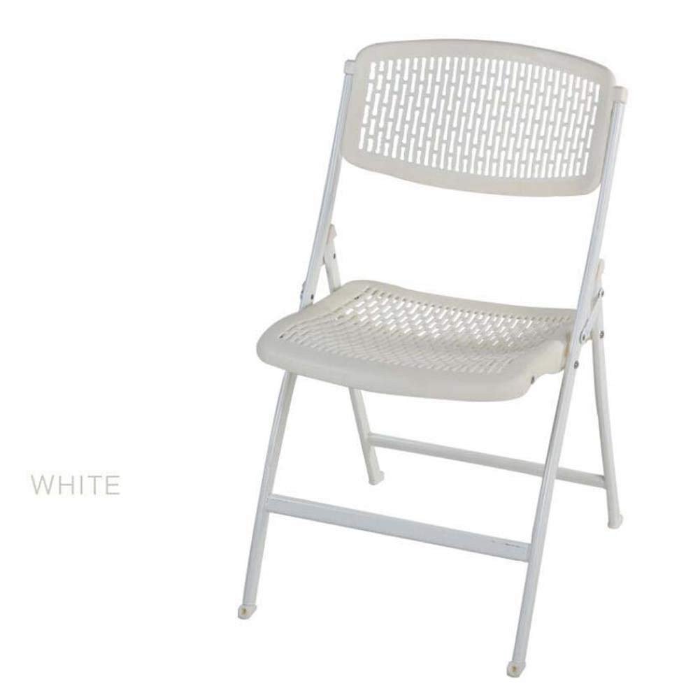 portable folding chair Plastic Folding Backrest Chair Stool Business Office Exhibition Training Chair Folding Computer Chair Breathable Hollow Casual Chair Convenient and practical ( Color : White )