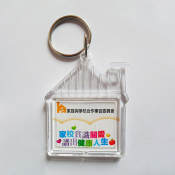 Wholesale customized House shape clear blank acrylic keychain with printing logo