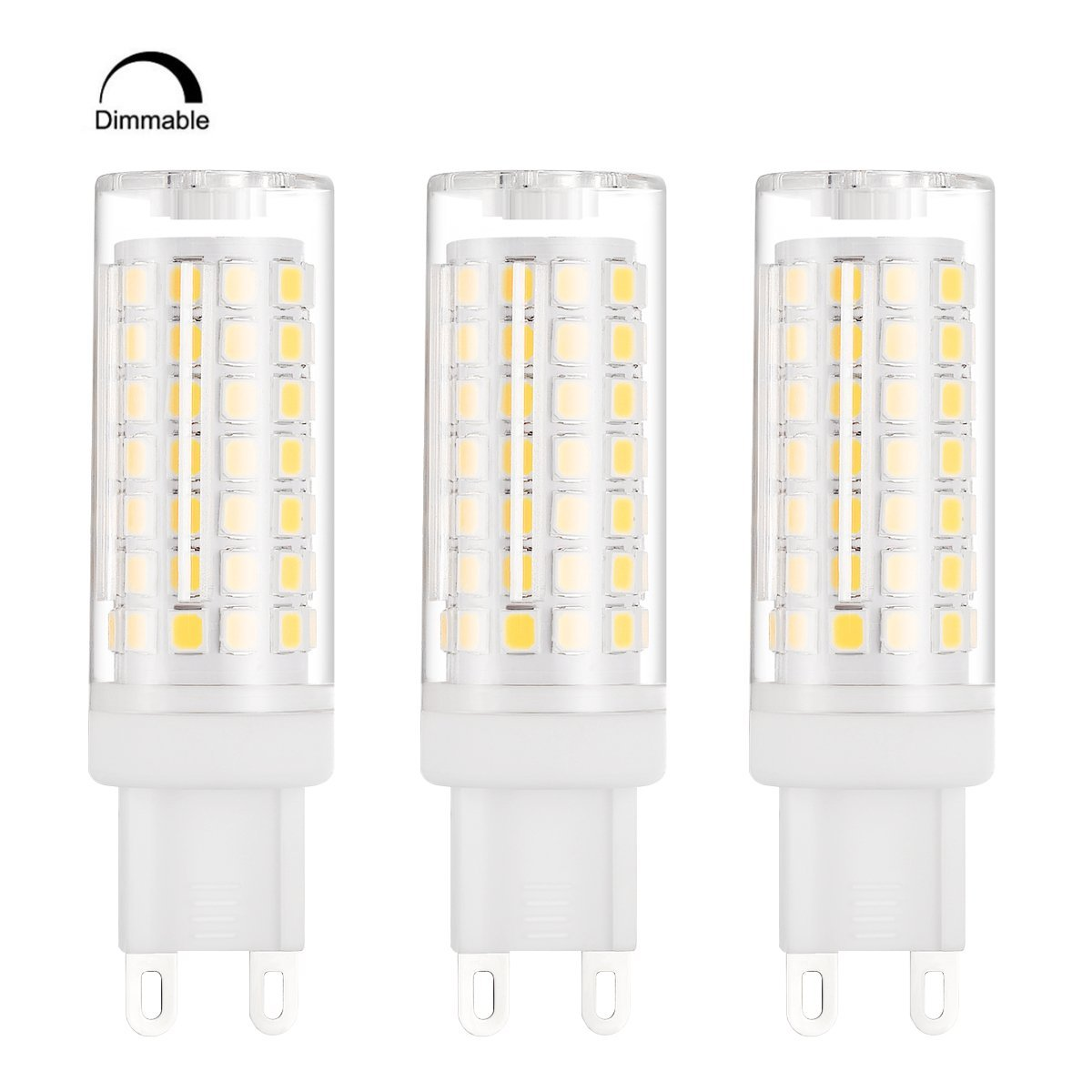 Bogao G9 Base 88 - SMD 2835 8W LED Light Bulb, 600-700LM, Equivalent to 70W Halogen Lamp Replacement, AC 110V-130V, 360 Omni-direction Beam Angle, Dimmable 3000K (3 Pack warm White)