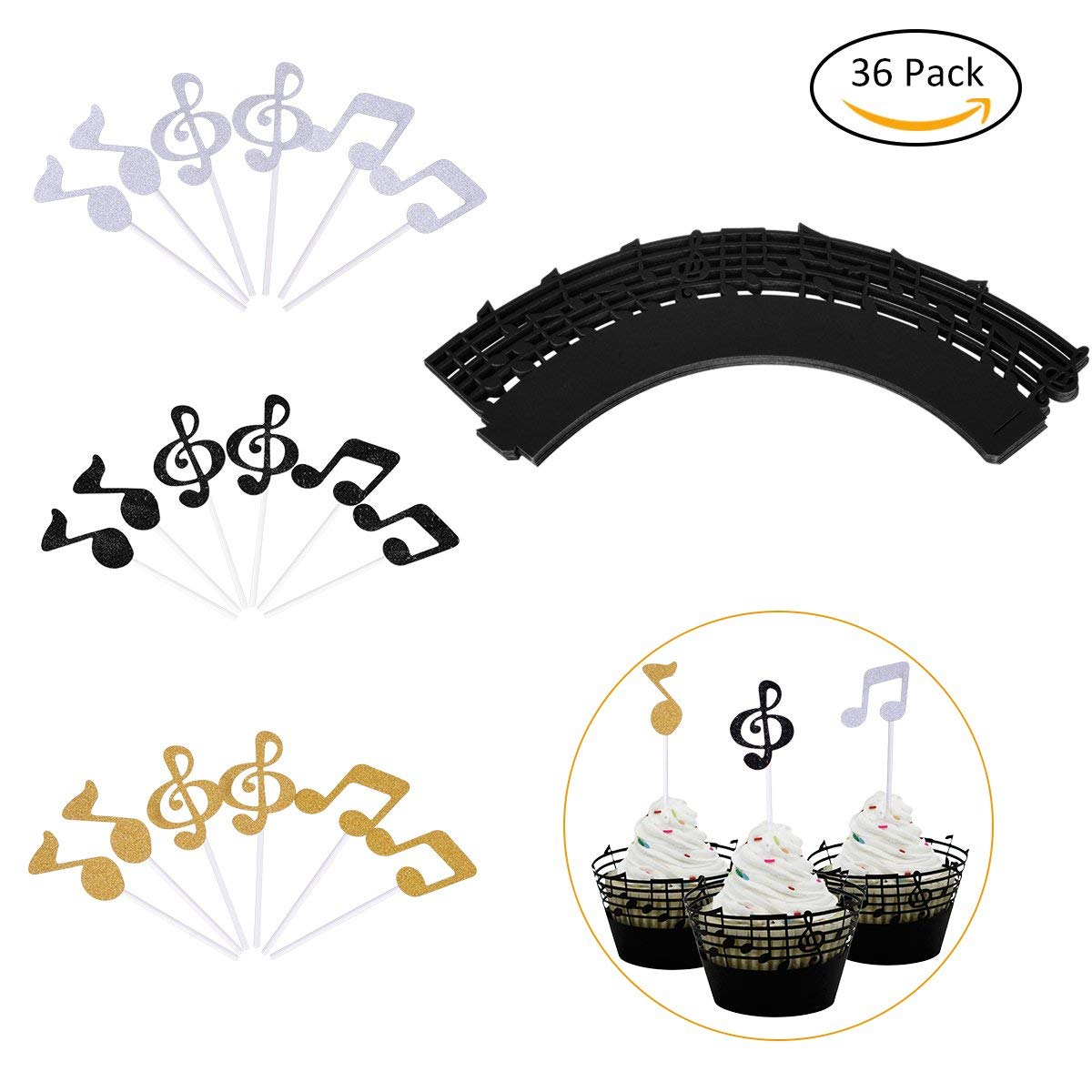get quotations youngrich cupcake decoration including 18 black cupcake muffin wrappers 86 x 2 inch and 18 cupcake