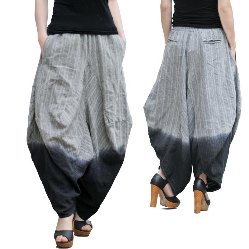 Hokny TD Mens Spring Elastic Waistband Harem Ankle Length Solid Color Pants