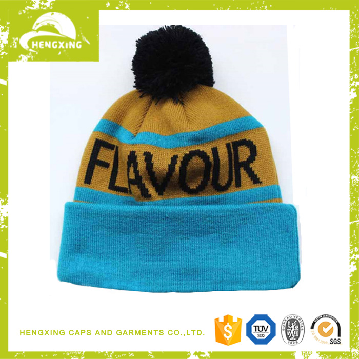 Wholesale Acrylic Knit Hats With Top Ball Beanie Cap