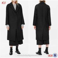 OEM Service Women Fashion Coats 2015 Latest Ladies Long Black Coat Design Winter Coats 100% Wool