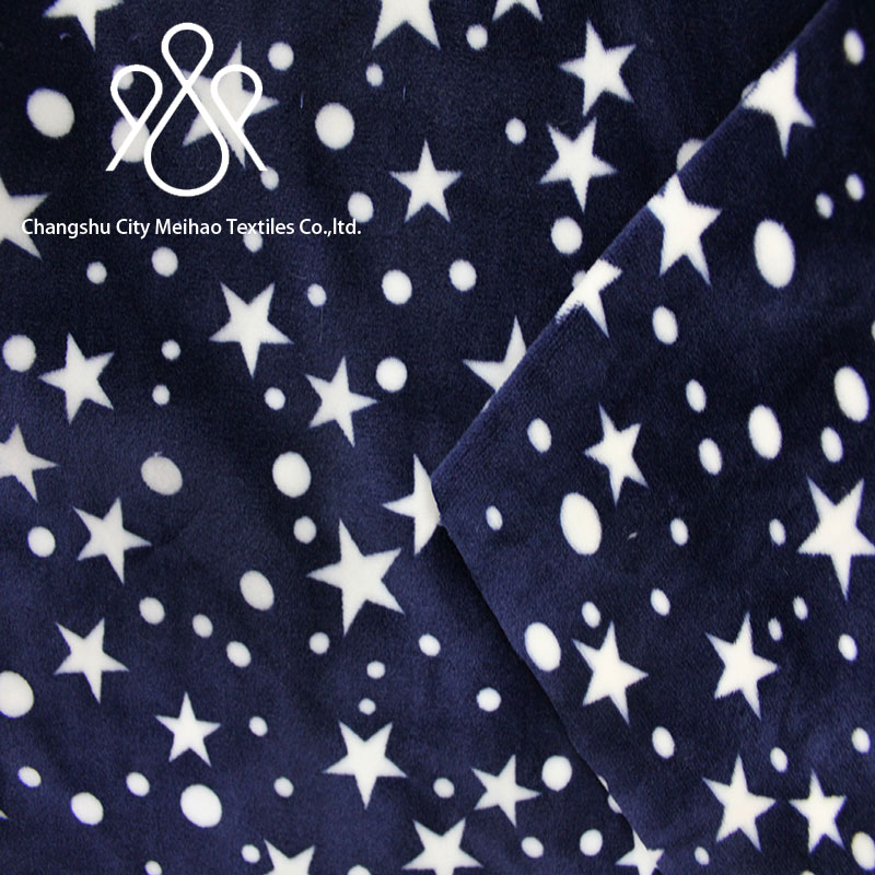 super soft flexible spandex bedgown bath robe fabric/stretch velvet fabric with Twinkling stars printed on it