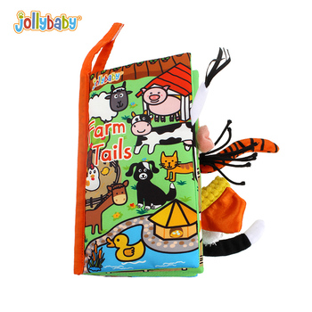 Jollybaby soft cloth book with short storys for kids, children's book toy with vivid and lovely animal pictures for baby