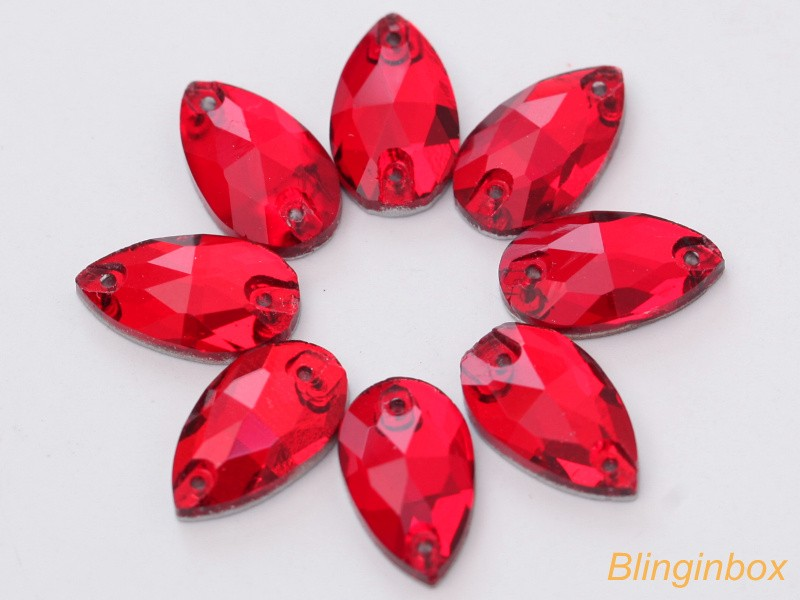 Mix color availabe teardrop glass sew on crystal jewel for clothing