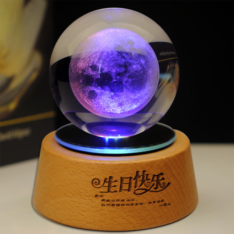 Multi-function Multi Color Led Bluetooth music ABS Plasti Base Crystal glass wooden mix Light Lamp Base stand for birthday gift