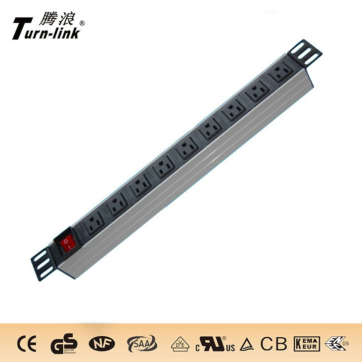 "USA type PDU,19"" , 9 ways socket power strip with switch"
