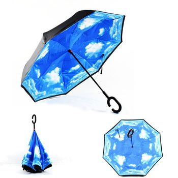 2018 Newest windproof double layer C-handle customize logo inverted umbrella