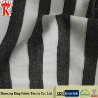 Latest made in China black and white striped cotton knit fabric