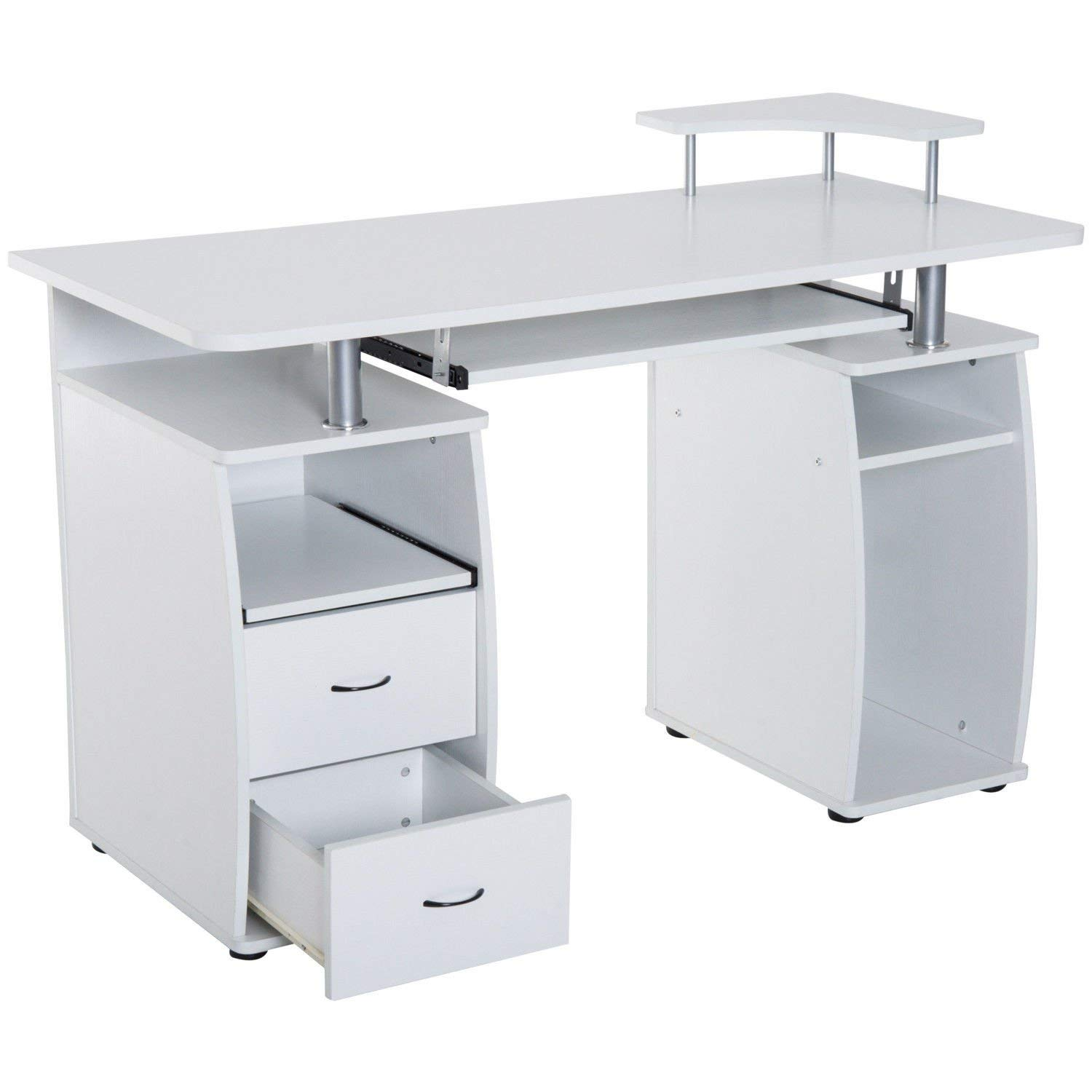 Get Quotations White Wooden Home Office Style Computer Desk CPU Storage Keyboard Tray Scanner Shelf 2 Drawers