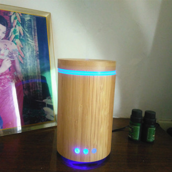 Amazon supplier real bamboo diffuser ultrasonic aroma oil diffuser home air humidifier air freshner with 7 C LED light