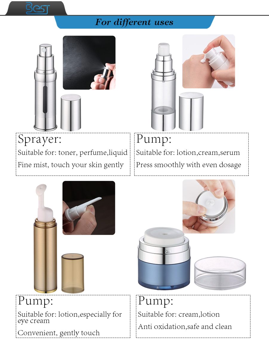 cosmetic packaging  empty airless bottle 15ml 30ml 50ml silver cosmetic container