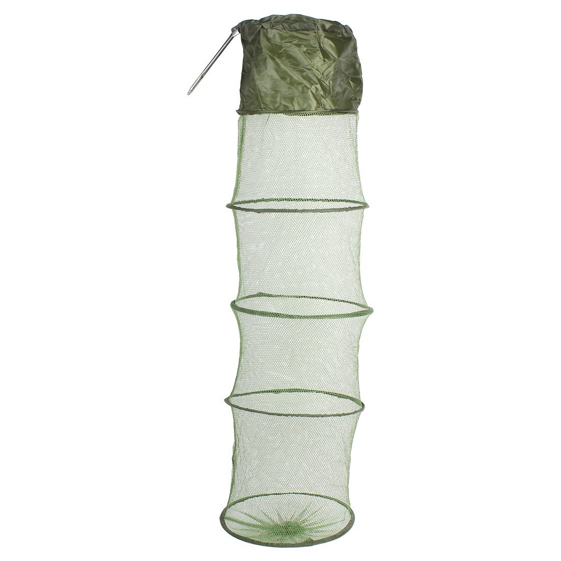 uxcell® River Lake 5 Sections Mesh Foldable Fishing Fish Keep Net Green