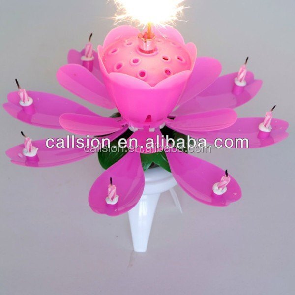 flower shape Sparkling Rotating musical Birthday Candle