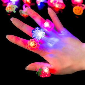 Creative LED Flashing Finger Ring Glow in Dark Party Decor Kid Toy Gift CA178