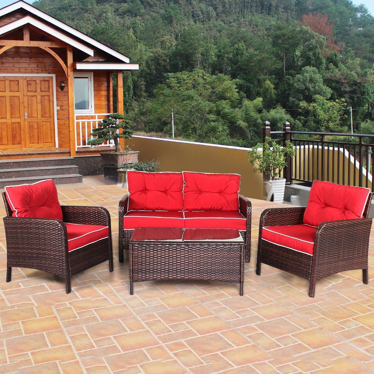Tangkula 4 Piece Outdoor Furniture Set Patio Garden Outdoor Wicker Conversation Set (Red)