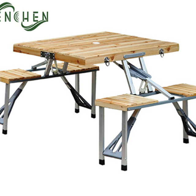 Fir Wood Folding Picnic Table With Chairs Set