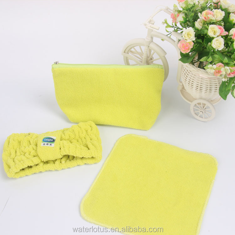 promotional gift cetaphil headband towel makeup bag set