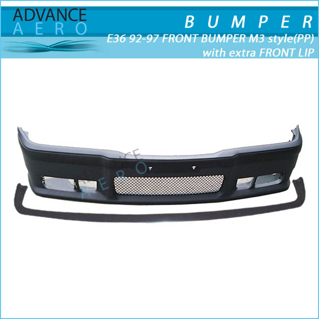 FOR 1992-1998 BMW E36 3-SERIES M3 STYLE PP POLYPROPYLENE FRONT BUMPER W/ REMOVABLE LIP
