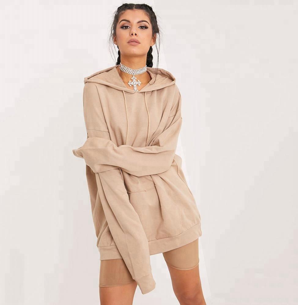 Grandes mulheres bege gota cobertor ombro simples de grandes dimensões longo moletom com capuz camisola do hoodie das mulheres por atacado em branco moletom com capuz com bolso