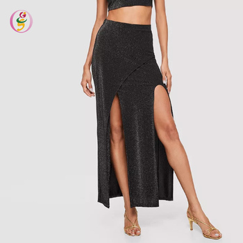 654ef2d84bd70f Sexy Slit Front Glitter Overlay Maxi Skirt Ladies Loose Long Wrap Party  Skirt