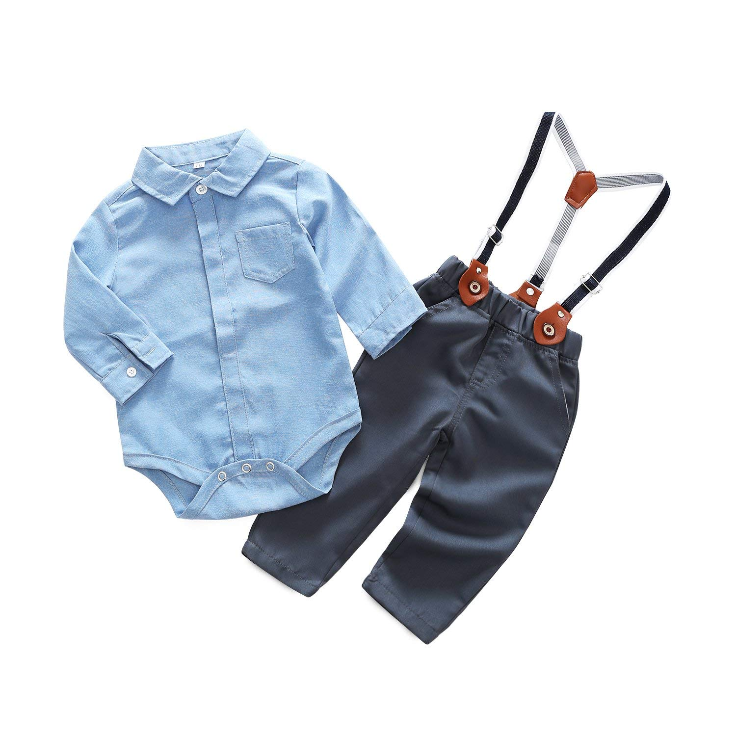 Kimocat Baby Boy Casual Suit 2pcs Cotton Long Sleeve Solid Color Onesie Shirt Pant with Suspenders Outfits Clothes Set