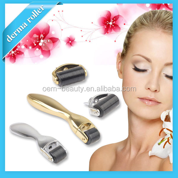 Micro derma roller 1200 needles changeable heads golden body derma roller for anti cellulite