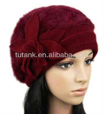 Warm Soft Women's Knit Cap Beret Wool Rabbit Hair Blend