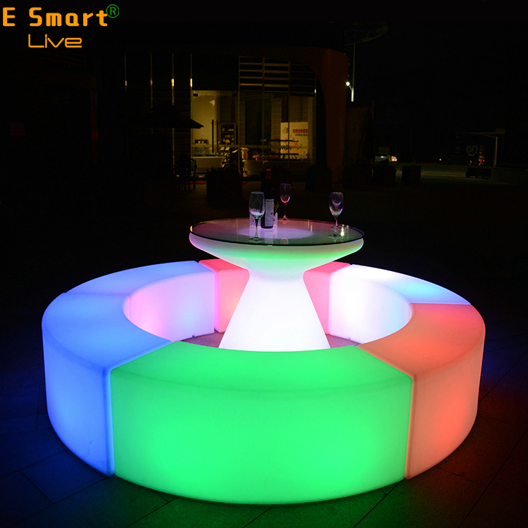 Glowing Bar Curved Sofa Stool Suit Waterproof Plastic Furniture Outdoor Furniture Living Room Garden Furniture Five Combo