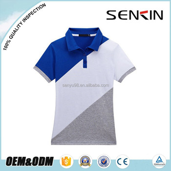 New Design Three Color Combination Womens Polo Shirts Fitted Custom